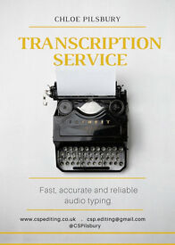 Transcription/audio typing service available