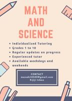 Affordable Math and Science tutoring for grades 1 to 10