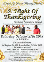 A Night Of Thanksgiving 4th Annual Fundraising Banquet