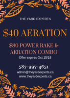 $40 Aeration, $80 power rake & aeration combo, $100 Fall cleanup