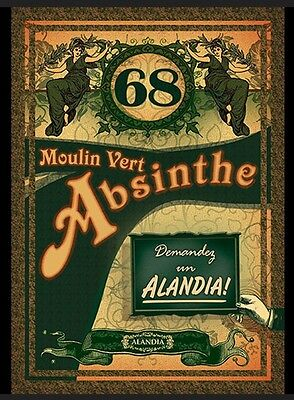ABSINTHE Poster French Moulin Vert Alandia 68 Green Fairy Mixology Advertisement