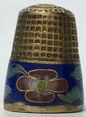 Brass Thimble with Cloisonne Band of Blue Band with Red, White, & Yellow Flowers