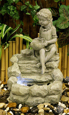 Child Sculpture Water Feature Fountain Cascade Classical Stone Effect Garden