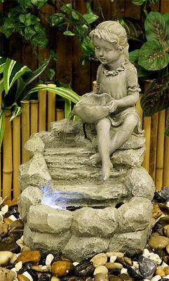 Child Sculpture Water Feature Fountain Cascade Classical Stone Effect Garden