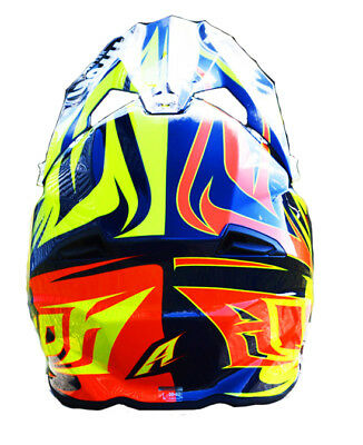 AIROH TWIST EVIL BLUE MOTOCROSS HELMET GOLD STAMPED APPROVED