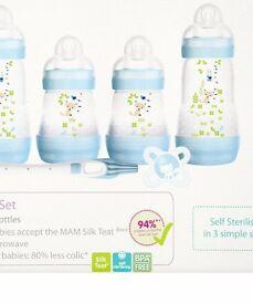 MAM Self-Sterilising Newborn Feeding Set (Blue)