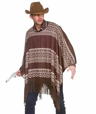 Adult WEST COWBOY Poncho Rodeo Clint Eastwood Western Fancy Dress Costume Male