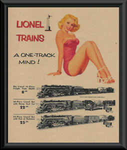 1940s Lionel Trains Pin Up Girl Poster Reprint On Original Period Paper *P063