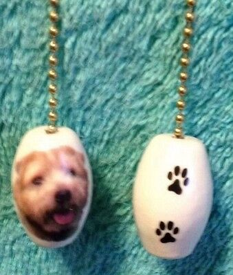 One Norfolk Terrier Dog Fan Pull With Paw Prints On The Back 1""