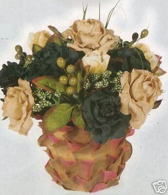 Silk Flower Basket Arrangement Artificial Plant Bush Rose Green Floral Decor 8