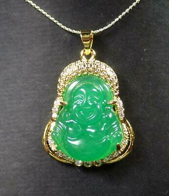 Gold Plate Green JADE Pendant Buddha God Necklace Diamond Imitation 100047 - God Necklace