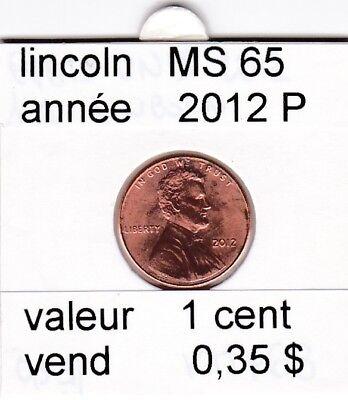 e2 )pieces de 1 cent  2012  P  lincoln