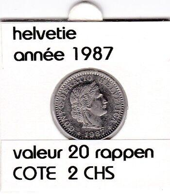 S 1) pieces suisse de 20 rappen de 1987  voir description