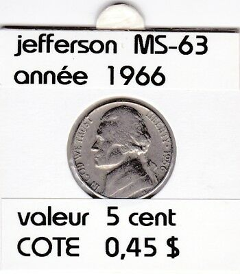 e3 )pieces de 5 cent  1966      jefferson