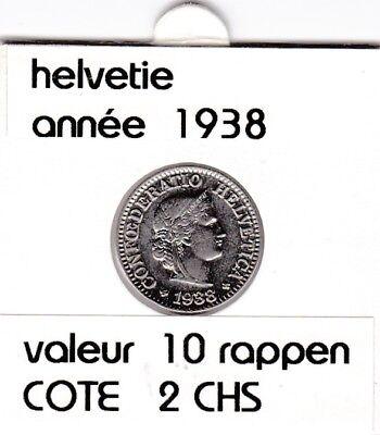 S 1) pieces suisse de 10  rappen de 1938  voir description