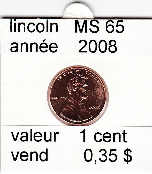 e2 )pieces de 1 cent  2008  P  lincoln