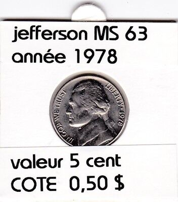 e2 )pieces de 5 cent  1978    jefferson