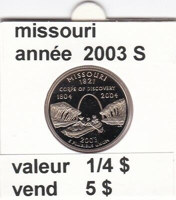 e 3)pieces de 25 cent  missouri  2003  S