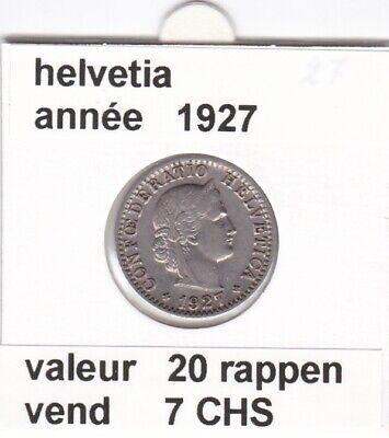 S 1 ) pieces suisse de 20 rappen   1927   RARE   voir description