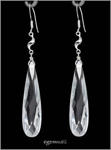Sterling Silver Dangle Drop Earrings with Cubic Zirconia (More Colors Available)