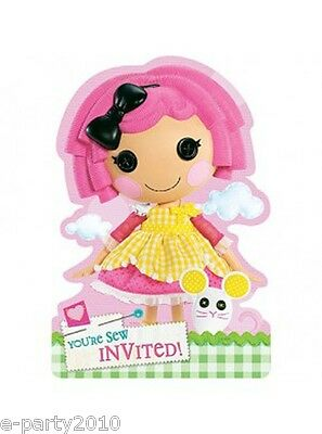LALALOOPSY INVITATIONS (8) ~ Birthday Party Supplies Stationery Invite Card Note - Lalaloopsy Birthday Invitations