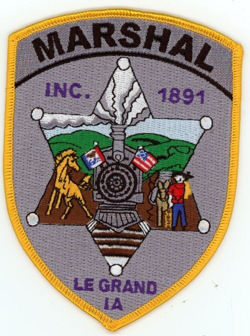 LE GRAND MARSHAL IOWA IA PATCH TRAIN SHERIFF POLICE COLORFUL