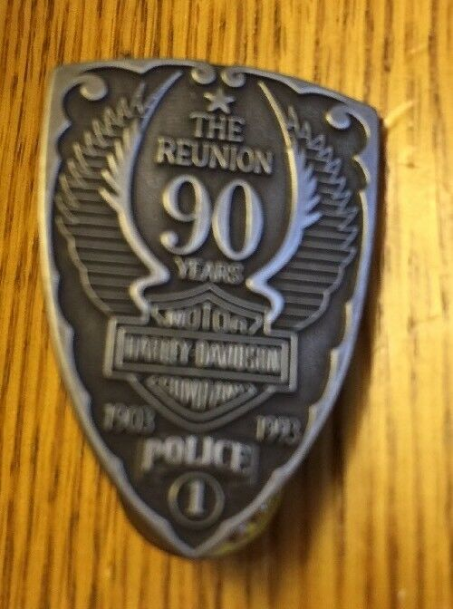 HTF HARLEY-DAVIDSON The Reunion 90th Anniversary 1903-1993 POLICE #1 PIN, New!