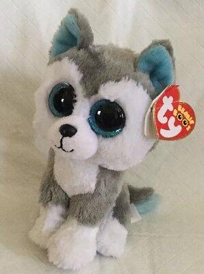 Ty Beanie Boos Slush The Huskey Dog 6  Mwmt Grey White Blue Glitter Eyes