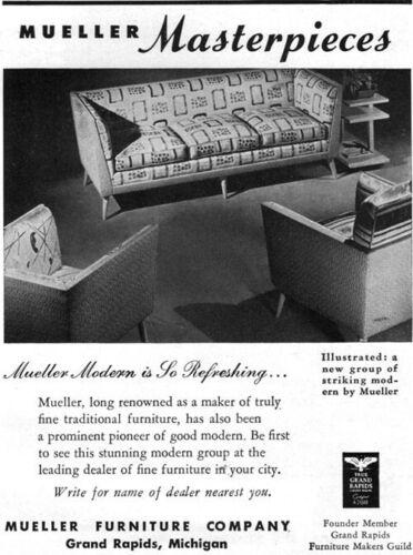 Mueller Mid Century Modern Furniture SOFA Chairs SO REFRESHING 1949 Print Ad