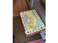 Side Table with map of Jersey under glass . feel free to view size L 21 in D 16 in H 17 in