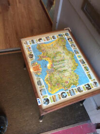 Retro style with legs Side Table with map of Jersey under glass size L 21 in D 16 in H 17