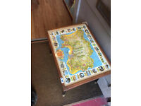 Side Table with map of Jersey under glass . feel free to view size L 21 in D 16 in H 17