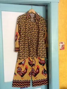 Vtg-Lanvin-Screen-Printed-ROOSTER-2-Pc-Dress-Top-Bell-Bottom-Pants-RARE