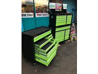 """DRAPER TOOLS EXTRA WIDE 42"""" TOOL CHEST 19 DRAWER 11 DRAWER ROLLER CABINET AND 8 DRAWER TOOL CHEST"""