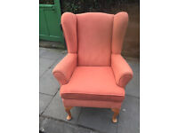 Wingback armchair , could do with a steam clean , but good solid chair. Free local delivery.