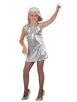 Disco Dress Silver Child Costume 70s Dance Retro Theme Party Halloween