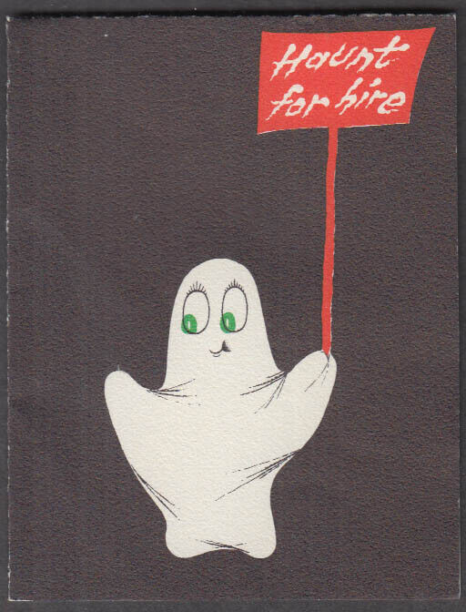 Haunt for Hire Halloween Greeting Card Norcross 5H12 1950s