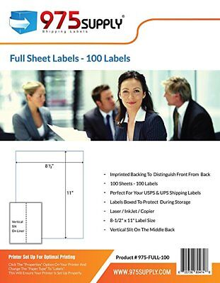 975 Supply Labels Shipping Full Sheet 8.5 X 11 Inches 100 Labelspack
