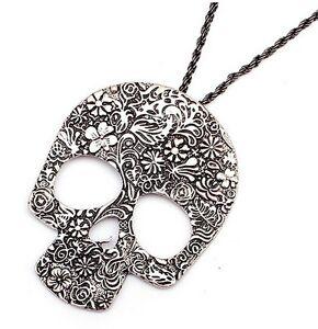 Halloween-Dia-De-Los-Muertos-Flor-Calavera-Colgante-Collar-Voodoo-Queen-New-Orleans