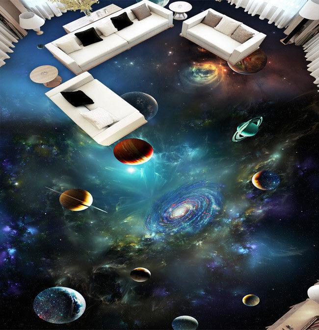 3d Galaxy Planet Milky Way Stars Floor Mural Photo