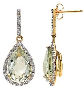 FINE 10K GOLD DIAMOND GREEN AMETHYST GEMSTONE TEARDROP DANGLE DROP EARRINGS