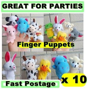 10 X FARM ZOO ANIMAL FINGER PUPPETS TOYS BOYS GIRLS BABYS PARTY BAG FILLER