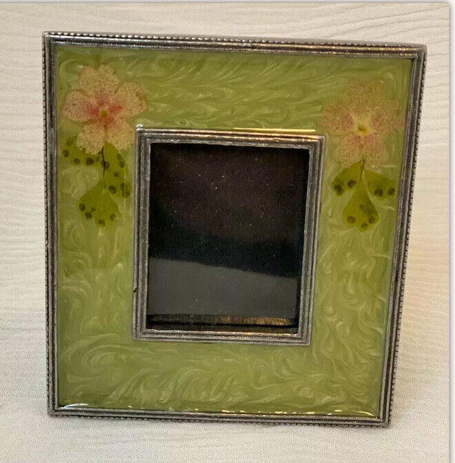 AXCo Enameled Picture Frame Green Floral EUC
