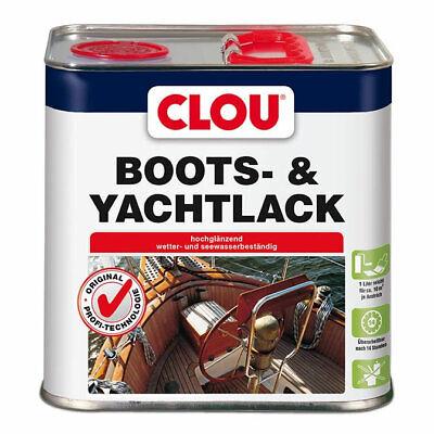 Lack Farblos Holz (Clou Yachtlack Bootslack Klarlack Holzlack Holzschutz glänzend farblos 2,5 l)