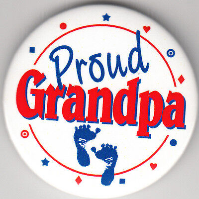 Proud Grandpa Birth Announcement Button Pin, 2
