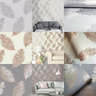 Holden Decor Metallic Fawning Feather Gold Grey Cream Rose Gold Wallpaper