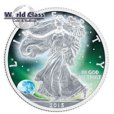 2015 1 oz .999 fine silver Frozen Walking Liberty Aurora Rhodium US Eagle Coin