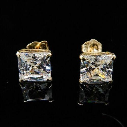 2CT Created Diamond 14K Solid Yellow Gold Princess Cut Pushback Stud Earrings