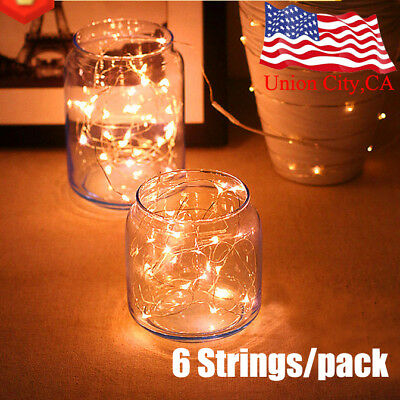 6 pcs 20 LEDs Battery Power Operated Mini LED Copper Wire String Fairy Lights 2M