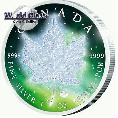 2016 1 oz .999 fine silver Frozen Aurora Rhodium Canada Maple Leaf Coin